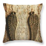 Bronze Angel Wings Throw Pillow