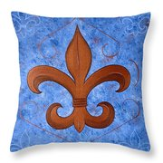 Bronze Fleur De Lis Throw Pillow