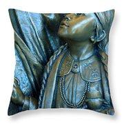 Bronze Onieda Indian Girl Throw Pillow