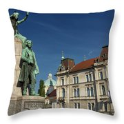 Bronze Sculpture Of National Poet Preseren Monument With Muse An Throw Pillow