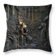 Bronze Sculptured Church Door - Slovenia Throw Pillow