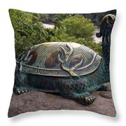 Bronze Turtle Dragon Sculpture Throw Pillow