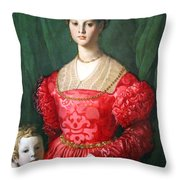Bronzino's A Young Woman And Her Little Boy Throw Pillow