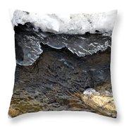 Brook Ice Macro Throw Pillow