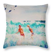 Brooke And Carey In The Shore Break Throw Pillow