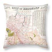 Brooklyn 1893 Map Throw Pillow