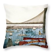 Brooklyn Bridge, 1872 Throw Pillow