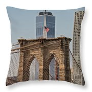 Brooklyn Bridge And One World Trade Center In New York City  Throw Pillow