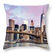 Brooklyn Bridge And Skyline At Sunrise, New York, Usa Throw Pillow