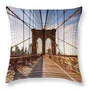 Brooklyn Bridge At Sunset, New York, Usa Throw Pillow