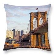 Brooklyn Bridge At Sunset Throw Pillow