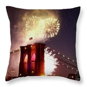 Brooklyn Bridge Celebration Throw Pillow
