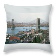 Brooklyn Bridge Circa 1904 Throw Pillow