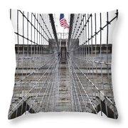 Brooklyn Bridge Flag Throw Pillow