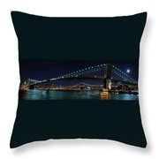 Brooklyn Bridge Full Moon Throw Pillow