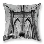 Brooklyn Bridge In Black And White Throw Pillow