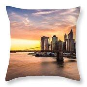 Brooklyn Bridge Panorama Throw Pillow