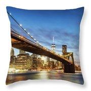 Brooklyn Bridge Panoramic At Night, New York, Usa Throw Pillow
