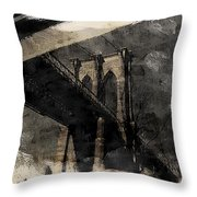 Brooklyn Bridge Reflection Abstract Throw Pillow