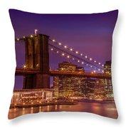 Brooklyn Bridge Sunset - Panorama Throw Pillow