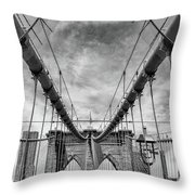 Brooklyn  Bridge Suspension Cables Throw Pillow