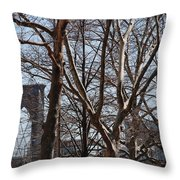 Brooklyn Bridge Thru The Trees Throw Pillow