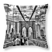 Brooklyn Bridge Walkway   B  And  W Throw Pillow