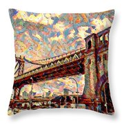 Brooklyn Bridge Watercolor Throw Pillow