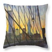 Brooklyn Bridge Wires Throw Pillow