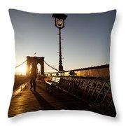 Brooklyn Brige Sunset Throw Pillow