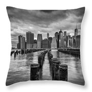 Brooklyn Pilings Bw Throw Pillow