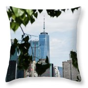 Brooklyn View Of One World Trade Center  Throw Pillow