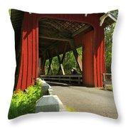 Brookwood Covered Bridge Throw Pillow