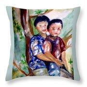 Brothers Bonding Throw Pillow