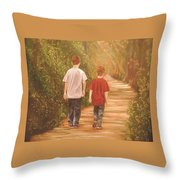 Brothers Into The Woods Throw Pillow