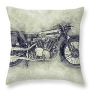 Brough Superior Ss100 - 1924 - Motorcycle Poster 1 - Automotive Art Throw Pillow