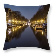 Brouwersgracht Canal In Amsterdam At Night. Throw Pillow
