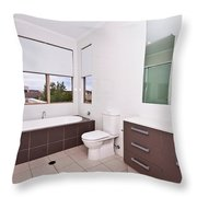 Brown And White Bathroom Throw Pillow
