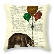 Brown Bear With Balloons Throw Pillow