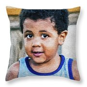 Brown Child - Paint Fx Throw Pillow