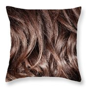 Brown Curly Hair Background Throw Pillow