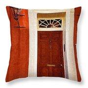 Brown Door Throw Pillow
