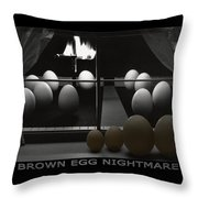 Brown Egg Nightmare Throw Pillow