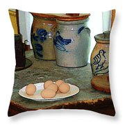 Brown Eggs And Ginger Jars Throw Pillow