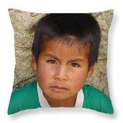 Brown Eyed Bolivian Boy Throw Pillow
