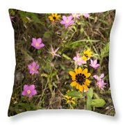Brown Eyed Susans With Rose Gentian Flowers Throw Pillow