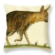 Brown Hyena Animal Art Throw Pillow