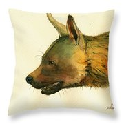 Brown Hyena Throw Pillow