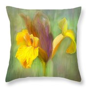 Brown Iris Throw Pillow