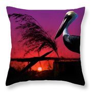 Brown Pelican At Sunset - Painted Throw Pillow